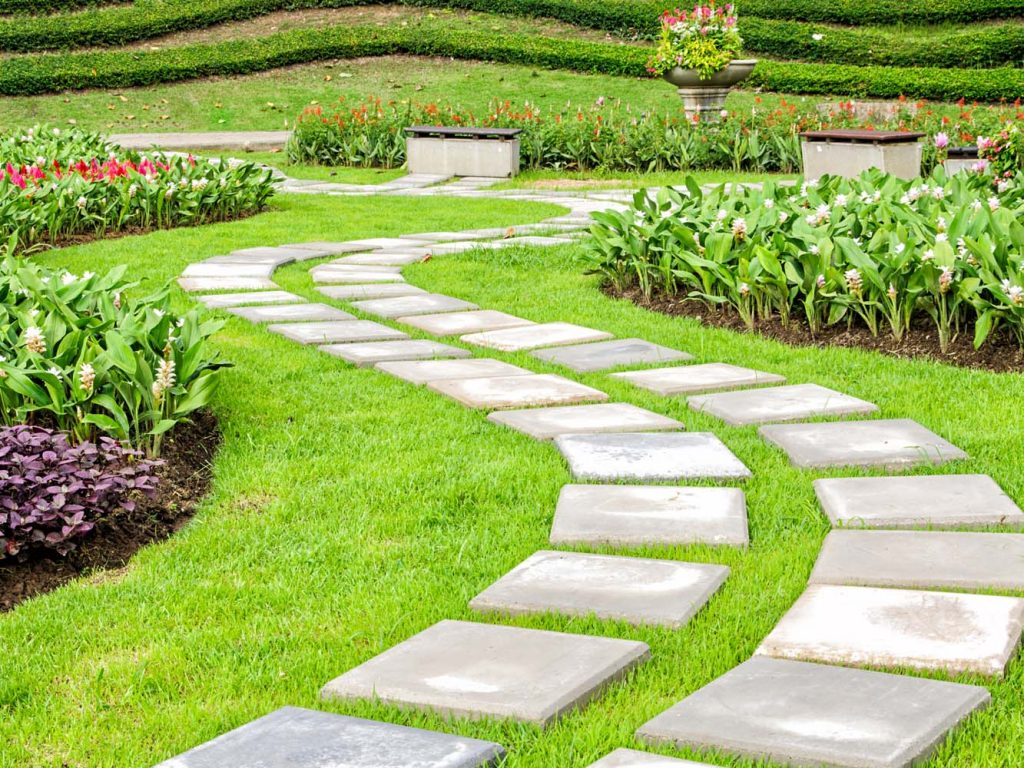 Landscaping path in a garden.
